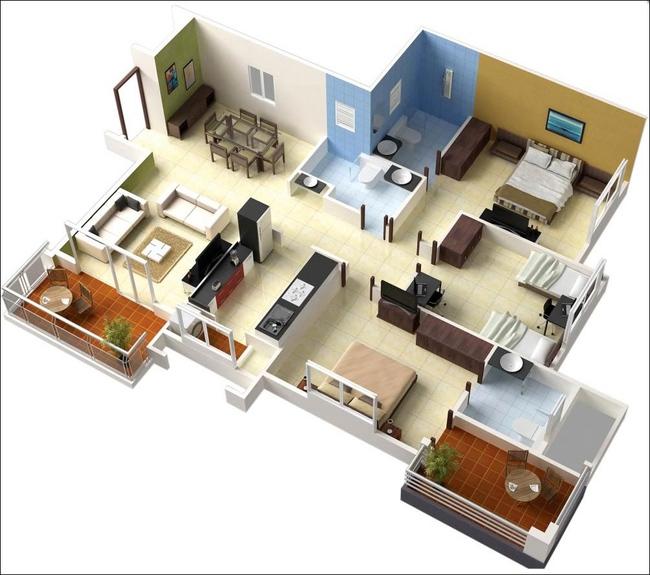 10 mẫu căn hộ 3 phòng ngủ đẹp, dễ ứng dụng cho những gia đình nhiều thế hệ cùng chung sống - Ảnh 1.