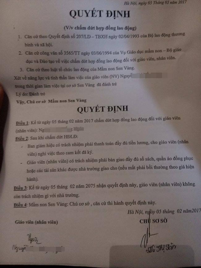 Biên bản chấm dứt hợp đồng đối với cô giáo