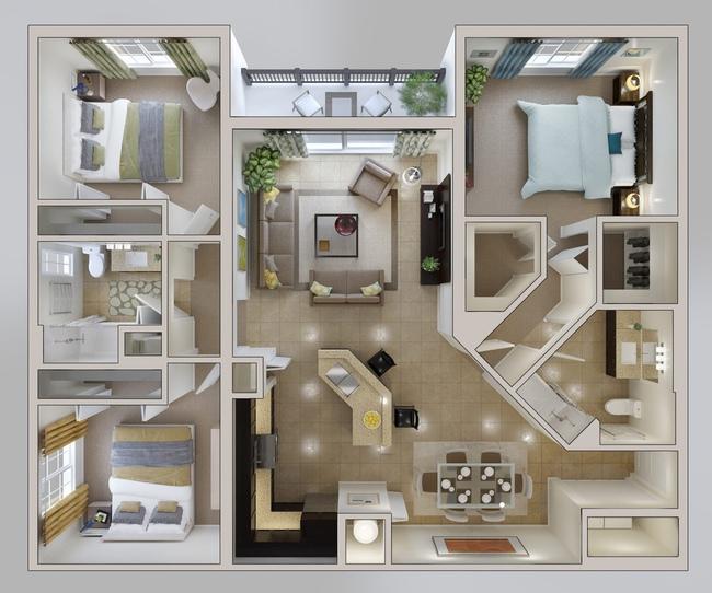 10 mẫu căn hộ 3 phòng ngủ đẹp, dễ ứng dụng cho những gia đình nhiều thế hệ cùng chung sống - Ảnh 9.