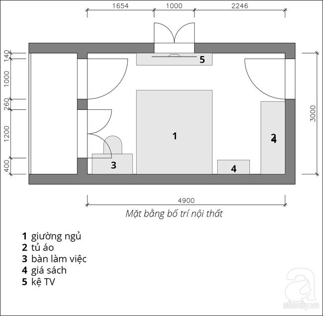 Phòng ngủ 15m² của vợ chồng trẻ đẹp hoàn hảo chỉ với 20 triệu - Ảnh 1.