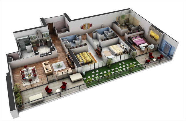10 mẫu căn hộ 3 phòng ngủ đẹp, dễ ứng dụng cho những gia đình nhiều thế hệ cùng chung sống - Ảnh 8.