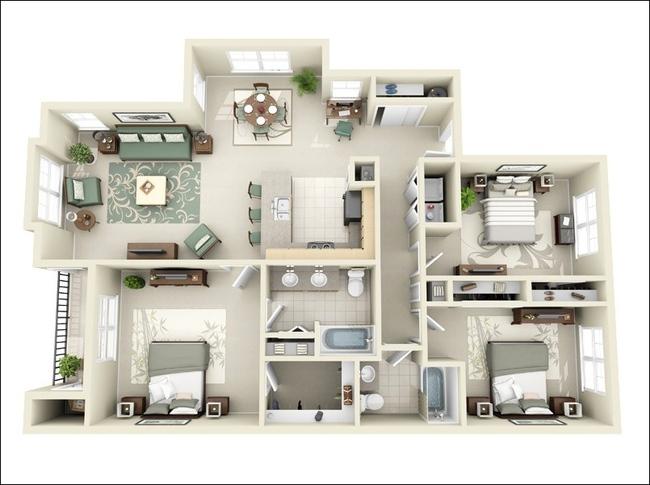 10 mẫu căn hộ 3 phòng ngủ đẹp, dễ ứng dụng cho những gia đình nhiều thế hệ cùng chung sống - Ảnh 7.