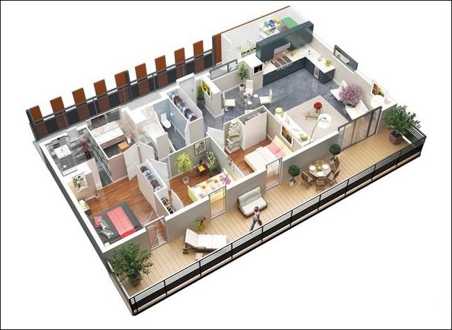 10 mẫu căn hộ 3 phòng ngủ đẹp, dễ ứng dụng cho những gia đình nhiều thế hệ cùng chung sống - Ảnh 6.