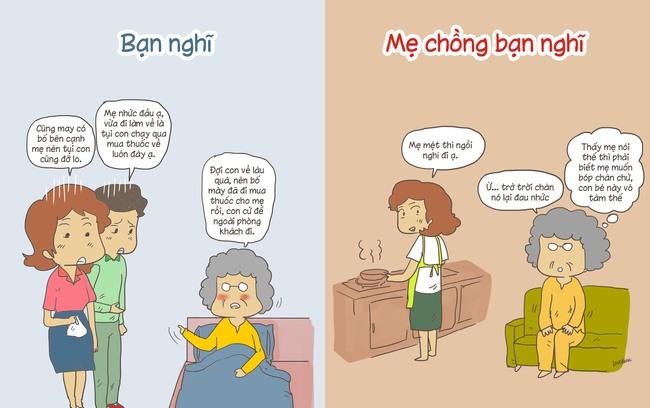 Tranh vui: Khác biệt cười ra nước mắt khi bạn nghĩ và mẹ chồng bạn nghĩ - Ảnh 1.