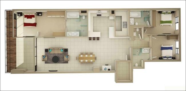 10 mẫu căn hộ 3 phòng ngủ đẹp, dễ ứng dụng cho những gia đình nhiều thế hệ cùng chung sống - Ảnh 3.