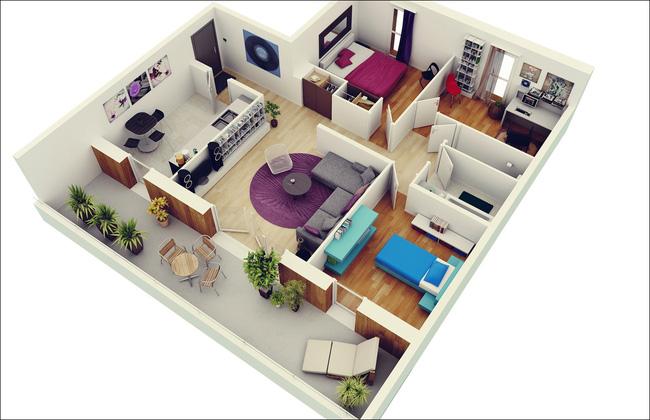 10 mẫu căn hộ 3 phòng ngủ đẹp, dễ ứng dụng cho những gia đình nhiều thế hệ cùng chung sống - Ảnh 2.