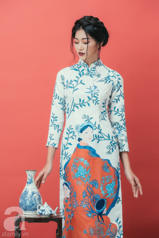 Rộn ràng không khí Tết cùng những thiết kế áo dài họa tiết đậm hương sắc ngày Xuân - Ảnh 11.