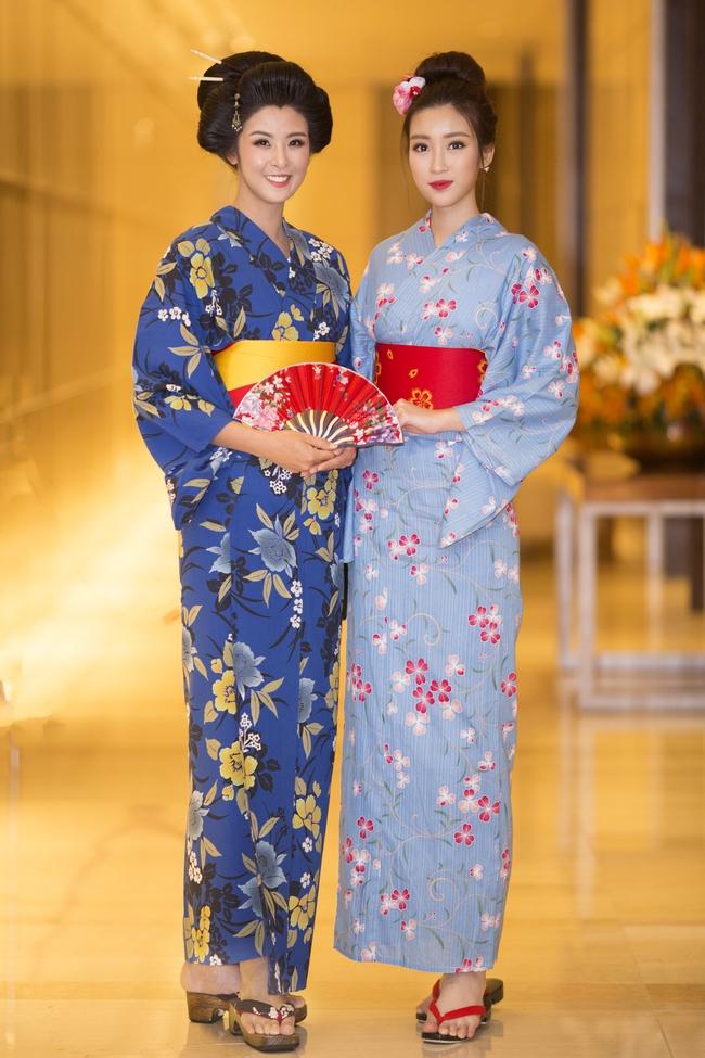 Hoa hậu Mỹ Linh, Ngọc Hân đọ sắc trong trang phục Kimono - Ảnh 2.