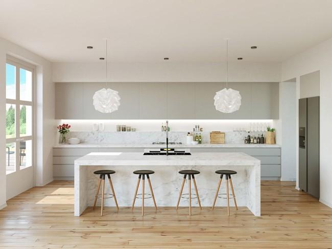 22 mẫu thiết kế phòng bếp màu xám ngỡ nhàm chán mà lại đẹp không tưởng - Ảnh 1.