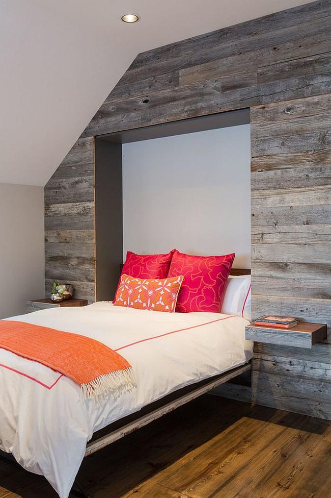 Cách sử dụng gỗ tái chế cho những bức tường phòng ngủ thêm quyến rũ - Ảnh 2.
