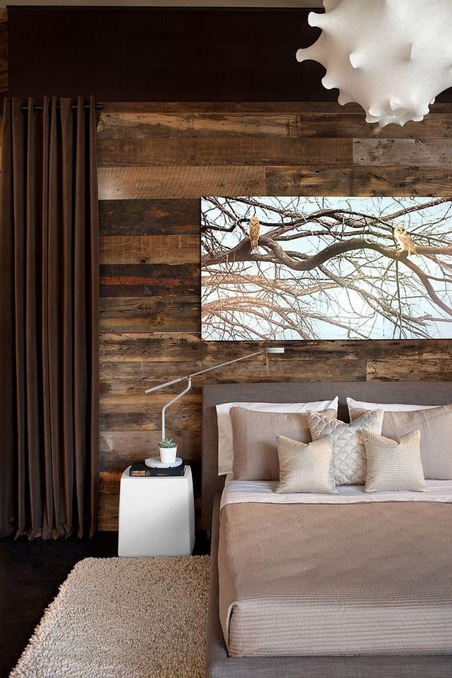 Cách sử dụng gỗ tái chế cho những bức tường phòng ngủ thêm quyến rũ - Ảnh 8.