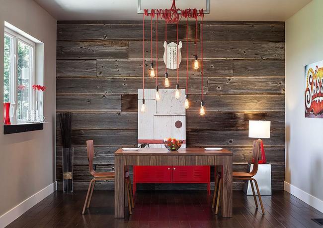 Những cách tinh tế để kết hợp gỗ tái chế vào phòng ăn - Ảnh 1.