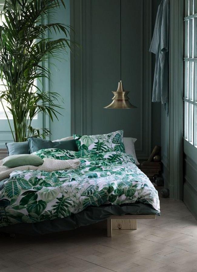 Khi đã chán đen, trắng, xám, hồng thì đừng quên xanh lá cũng là một gam màu rất tuyệt cho phòng ngủ - Ảnh 2.