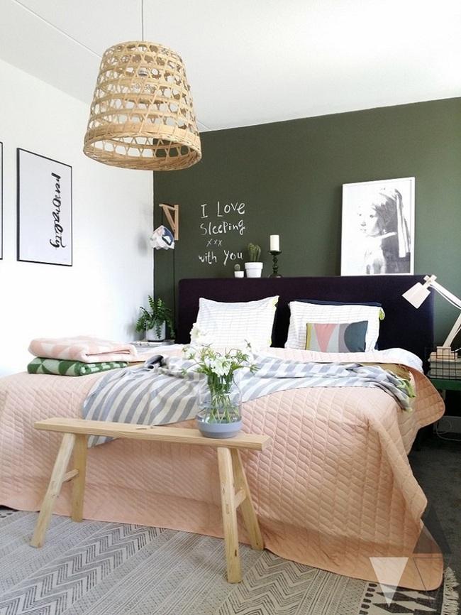 Khi đã chán đen, trắng, xám, hồng thì đừng quên xanh lá cũng là một gam màu rất tuyệt cho phòng ngủ - Ảnh 3.