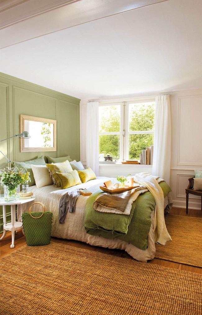 Khi đã chán đen, trắng, xám, hồng thì đừng quên xanh lá cũng là một gam màu rất tuyệt cho phòng ngủ - Ảnh 6.