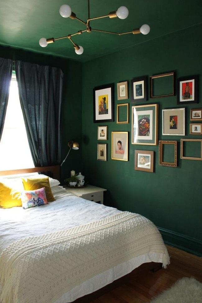 Khi đã chán đen, trắng, xám, hồng thì đừng quên xanh lá cũng là một gam màu rất tuyệt cho phòng ngủ - Ảnh 7.