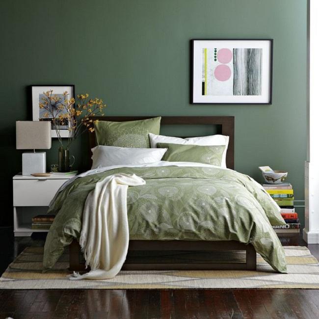 Khi đã chán đen, trắng, xám, hồng thì đừng quên xanh lá cũng là một gam màu rất tuyệt cho phòng ngủ - Ảnh 10.