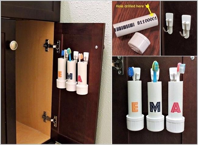 10 cách tái chế hoàn hảo những vật phẩm đơn giản để cất giữ bàn chải đánh răng  - Ảnh 2.