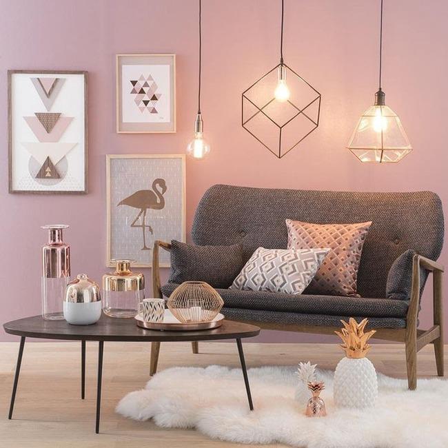 Vẻ đẹp đầy lôi cuốn trong thiết kế nội thất của cặp đôi màu sắc đồng và hồng - Ảnh 1.