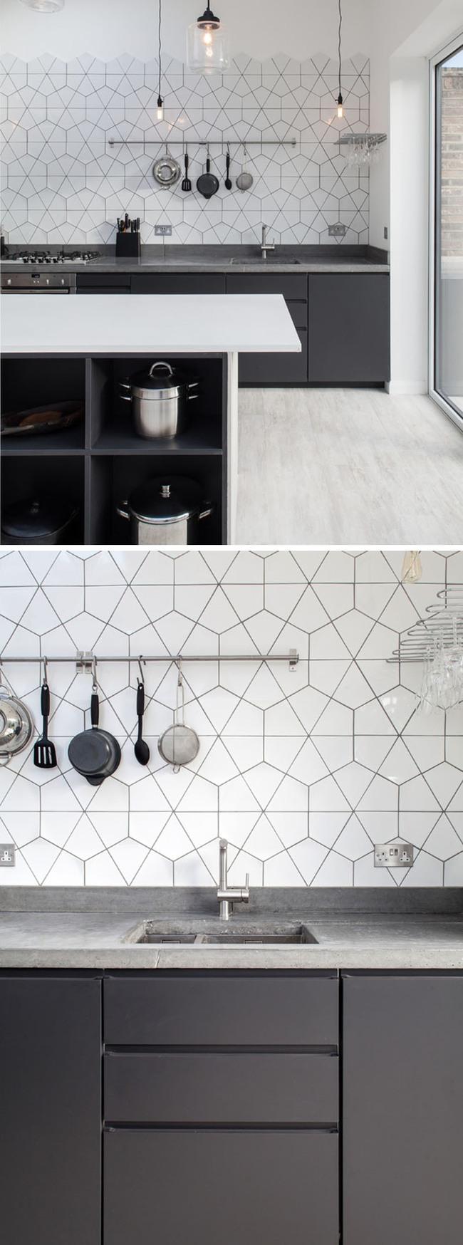 9 mẫu gạch ốp nhà bếp theo phong cách hình học cho chị em tùy ý lựa chọn - Ảnh 4.