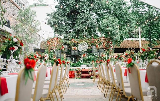 Cặp đôi Hà Thành trang trí tiệc cưới sân vườn với sắc đỏ đẹp như một giấc mơ về hạnh phúc - Ảnh 15.