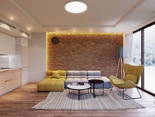 Thiết kế tường gạch độc đáo giúp phòng khách đẹp đến khó tả - Ảnh 9.