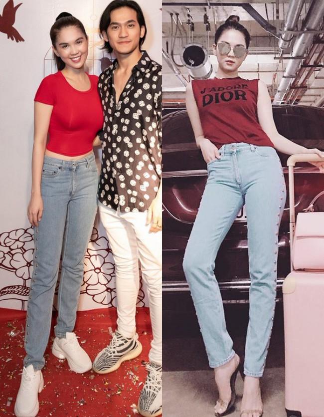 Cùng một chiếc quần jeans, hôm trước vừa diện kiểu sang chảnh hôm sau Ngọc Trinh đã lên đồ kém sang ngay được - Ảnh 4.