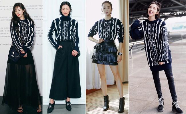 """Muốn nâng trình mix đồ, hãy nhìn cách Dương Mịch, Liu Wen, Lý Thuần, Đường Nghệ Hân """"chặt chém"""" khi diện 1 chiếc áo len - Ảnh 9."""