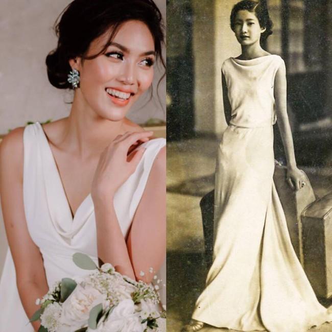 Mẫu váy cưới giúp tôn lên nét đẹp đoan trang, thoát tục mà Lan Khuê mặc được lấy cảm hứng từ Hoàng hậu cuối cùng của Việt Nam - Ảnh 7.