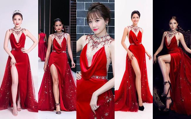 Như một thói quen, Hari Won cứ 10 lần mặc váy đỏ là 9 lần đụng hàng - Ảnh 1.