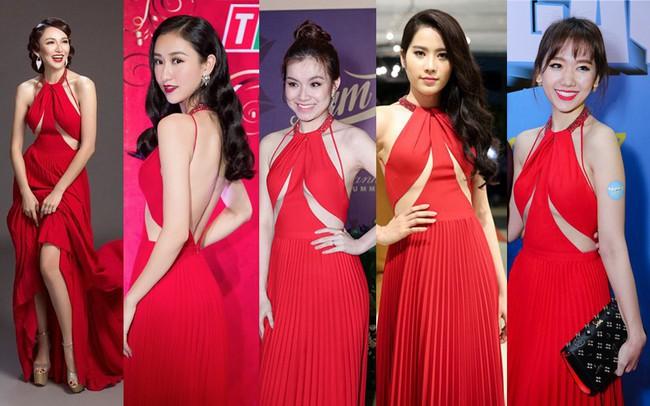 Như một thói quen, Hari Won cứ 10 lần mặc váy đỏ là 9 lần đụng hàng - Ảnh 2.