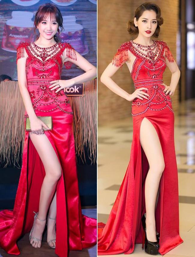 Như một thói quen, Hari Won cứ 10 lần mặc váy đỏ là 9 lần đụng hàng - Ảnh 4.