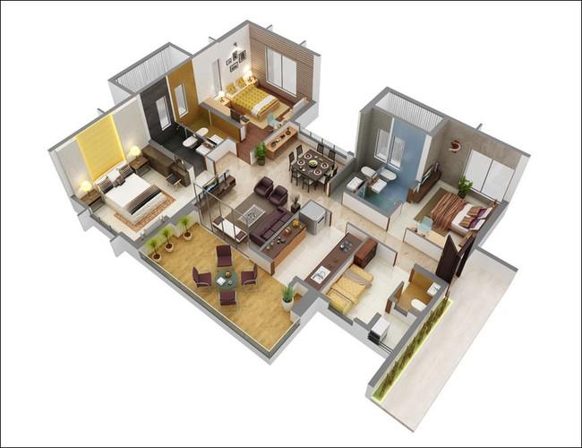 8 thiết kế căn hộ 3 phòng ngủ cực thông minh để đáp ứng nhu cầu sinh hoạt của gia đình nhiều thế hệ - Ảnh 1.