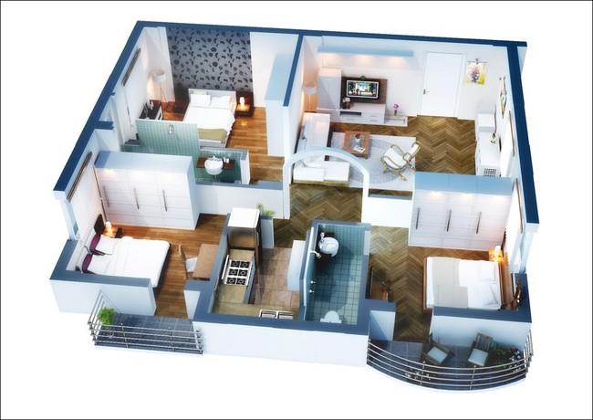 8 thiết kế căn hộ 3 phòng ngủ cực thông minh để đáp ứng nhu cầu sinh hoạt của gia đình nhiều thế hệ - Ảnh 3.