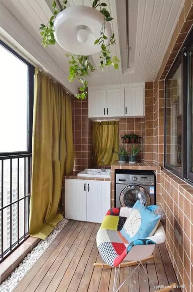 Tận dụng ban công làm nơi vừa thư giãn vừa để máy giặt, giải pháp siêu hay cho những người ở nhà chung cư - Ảnh 10.