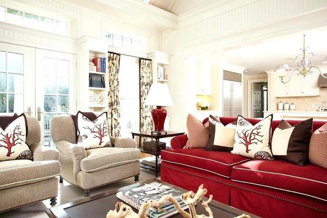 Đừng bỏ lỡ chiếc ghế sofa đỏ cho phòng khách khi mùa lễ hội đã cận kề - Ảnh 7.