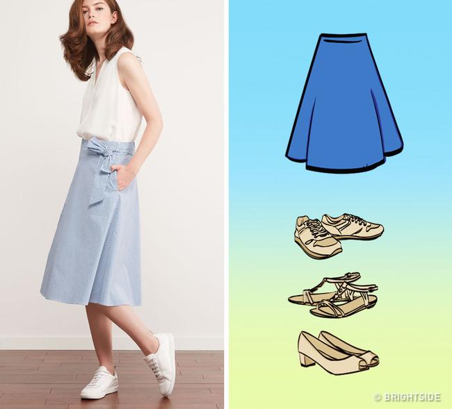 8 kiểu chân váy chị em ưa chuộng sẽ trở nên hoàn hảo với những mẹo kết hợp giày dép đơn giản dưới đây - Ảnh 7.