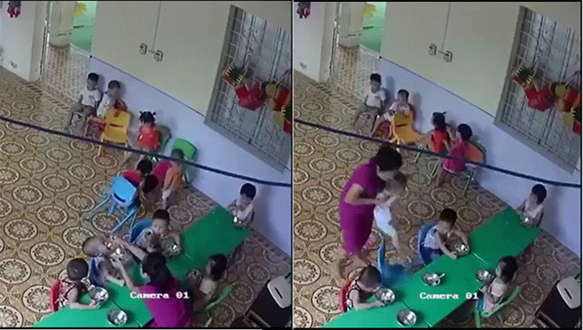 Giáo viên mầm non nhồi nhét thức ăn, đánh không thương tiếc bé trai hơn 2 tuổi ở Hà Nội - Ảnh 1.