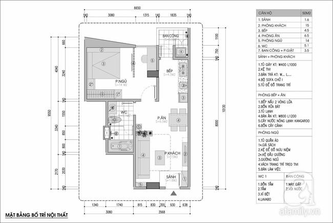Tư vấn thiết kế cho căn hộ 50m² cho vợ chồng mới cưới với chi phí chưa đến 110 triệu đồng - Ảnh 1.