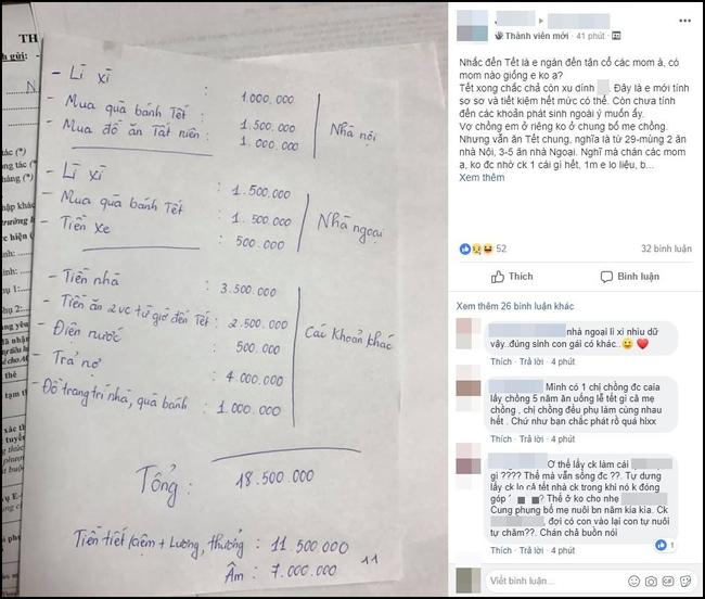 Vợ trẻ méo mặt với bảng chi tiêu âm đến 7 triệu trong dịp Tết, chị em lại xôn xao vì đầy điểm vô lý - Ảnh 1.