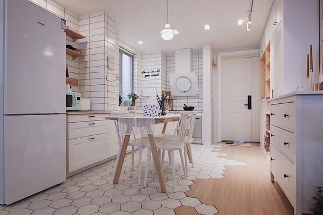 Căn hộ 70m² trên tầng 33 đẹp hút hồn với thiết kế gạch sàn bếp hình lục giác độc đáo - Ảnh 2.