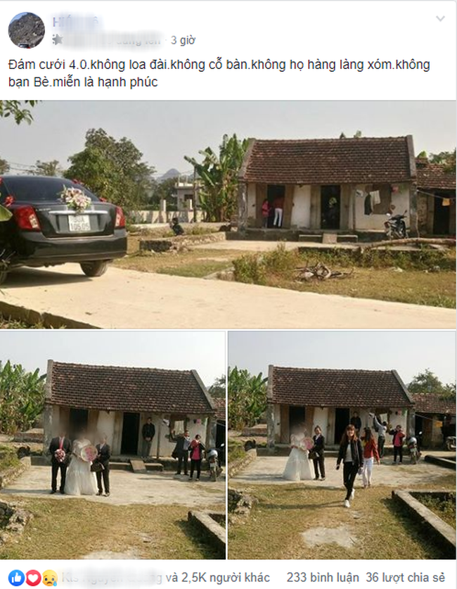 Chị em tranh cãi xôn xao trước hình ảnh đám cưới 4.0: Không loa đài, không cỗ bàn, không làng xóm cũng chẳng có bạn bè - Ảnh 1.