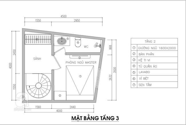 Tư vấn thiết kế nhà 3,5 tầng trên mảnh đất bị xéo với chi phí hơn 4 trăm triệu - Ảnh 3.