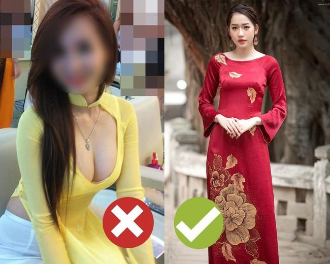 """5 kiểu áo dài nhìn thôi đã thấy """"nóng mắt"""", Tết này các nàng cần tránh xa nếu không muốn bị chê thảm họa - Ảnh 5."""