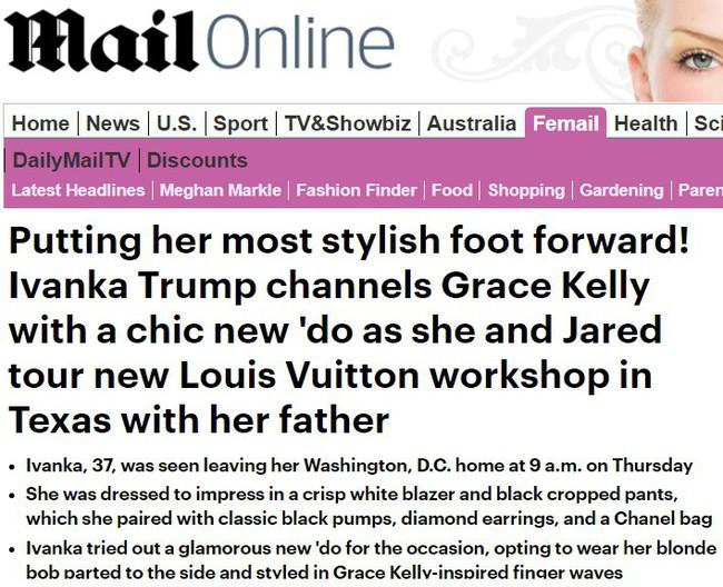 """Ivanka Trump được báo Anh ví von giống công nương Grace Kelly vì kiểu tóc nhưng lại bị dân tình chê là """"bản sao lỗi"""" - Ảnh 4."""