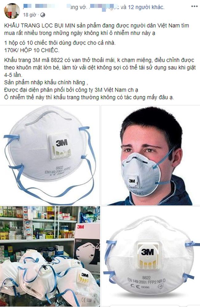 """Ô nhiễm không khí ở mức báo động, thị trường khẩu trang chống bụi """"loạn"""" giá bán  - Ảnh 5."""