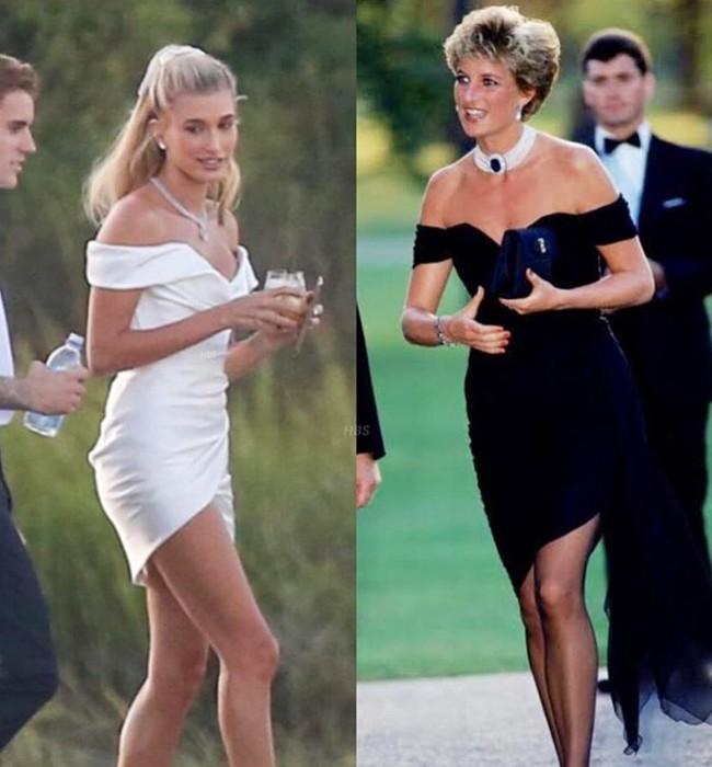 """""""Chiếc váy trả thù"""" của công nương Diana được đồn đoán chính là nguồn cảm hứng cho váy cưới tuyệt đẹp của Hailey Bieber - Ảnh 5."""
