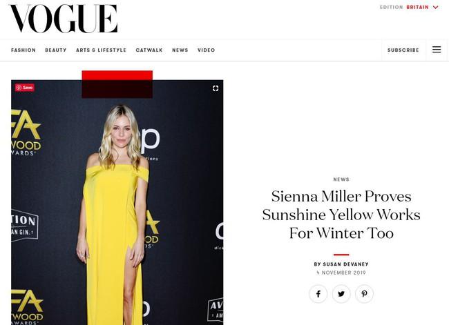 Minh tinh quyến rũ bật nhất Hollywood Sienna Miller diện đầm của NTK Công Trí: Như tia nắng vàng bừng sáng trên thảm đỏ  - Ảnh 1.