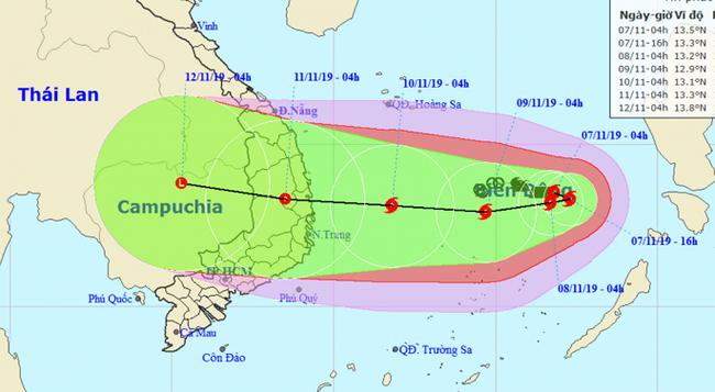 Dự báo đường đi của bão số 6. Ảnh TTKTTVQG.