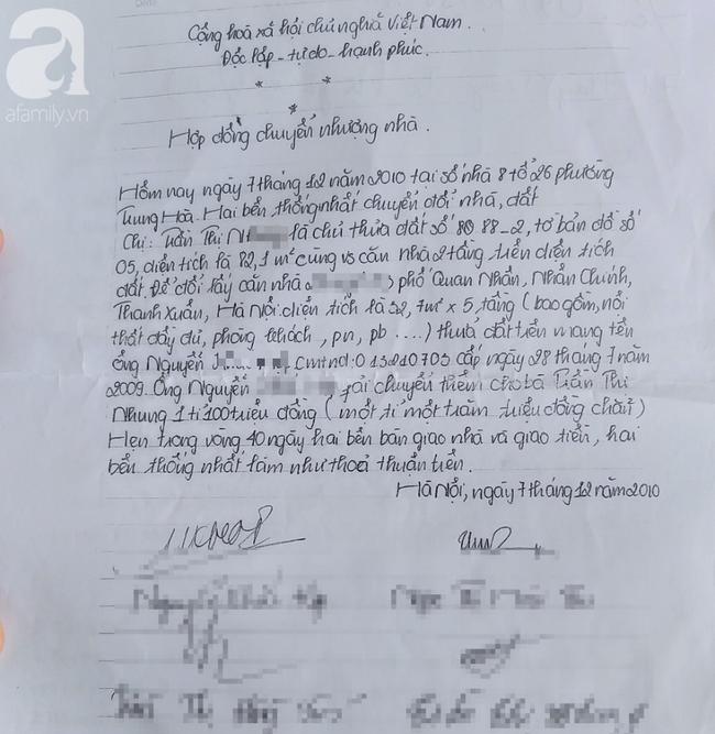 Hợp đồng chuyển nhượng viết tay giữa nạn nhân và chủ nhà cũ